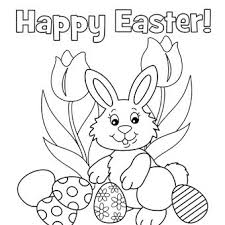 Happy Easter Coloring Page Egg Bunny Pages For Kids