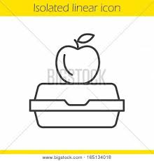 Lunchbox Linear Icon Thin Line Illustration Apple On Lunch Box Contour Symbol