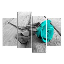 Gray And Teal Bathroom by Amazon Com Grepova Art Black White Floral Flower Teal Modern 4