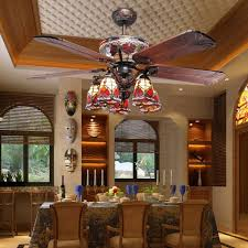 Image Of Tiffany Ceiling Fan Dining Room Inspirations