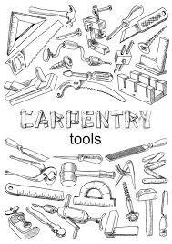Set Of Tools For Carpentry Work Images In The Freehand Drawing Style Vector Illustration