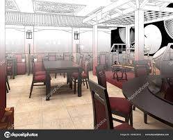 Render Black And White Sketch Of The Chinese Restaurant Interior Design Stock Photo