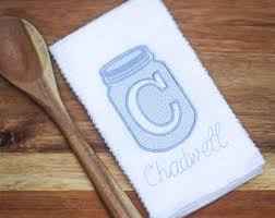 Personalized Mason Jar Kitchen Towel Monogrammed Ball Decor Embroidered Bar Mop