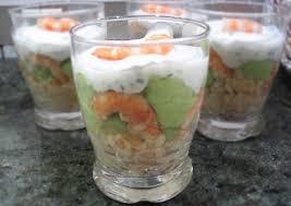 recette de verrines salées faîcheur avocat crevettes