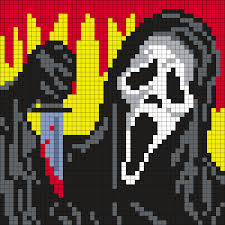Halloween Perler Bead Projects by Ghostface From Scream 50 X 50 Square Grid Pattern Man In The