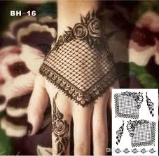 Bh 16 Gothic Style Black Lace Henna Temporary Tattoo With Rose Pattern Inspired Body Sticker Quality Tattoos Removable For Adults From
