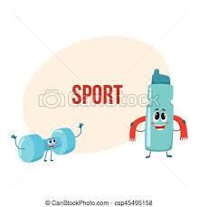 Funny Dumbbell And Protein Shake Bottle Characters With Smiling Human Faces Gym Equipment Cartoon Vector Illustration Place For Text