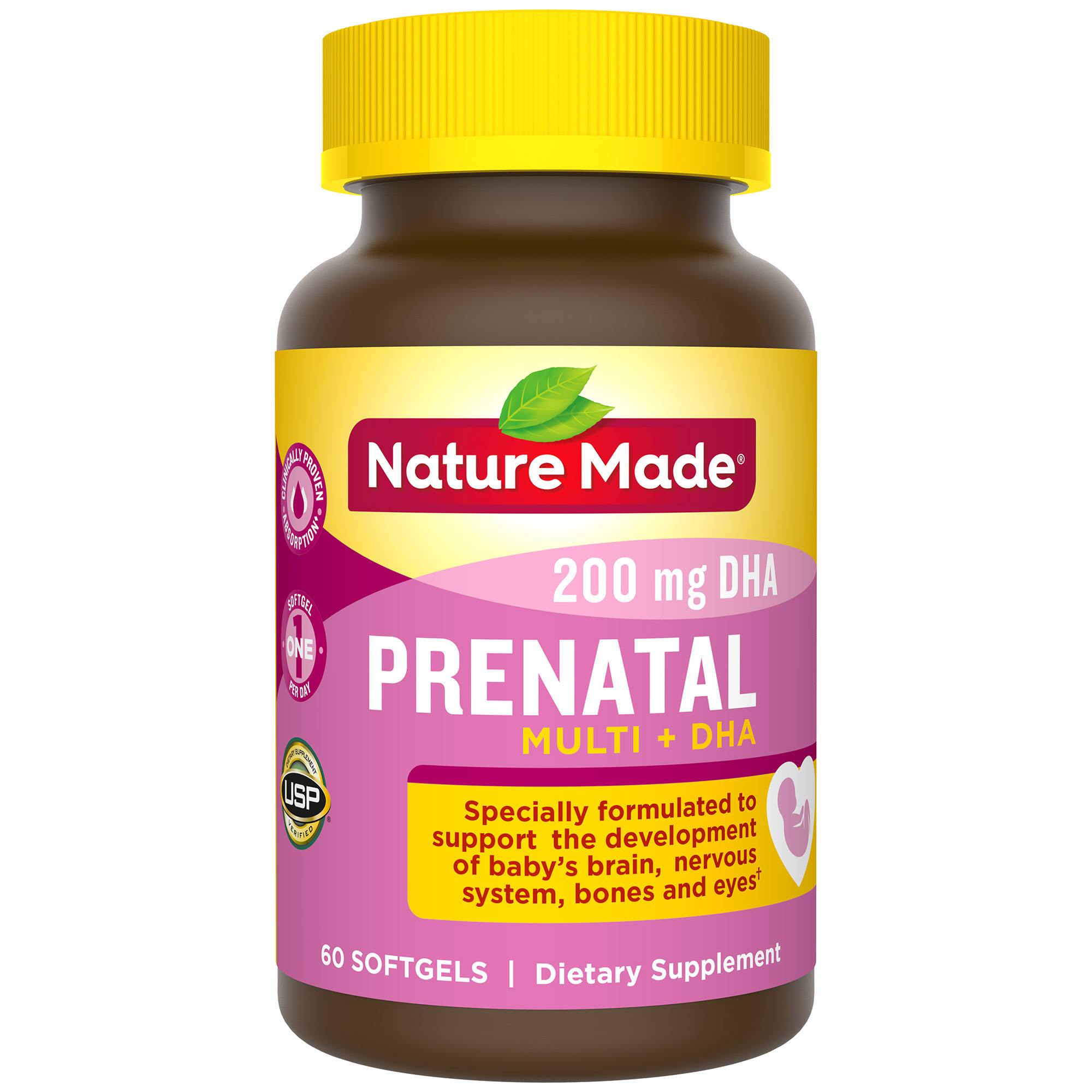 Nature Made Prenatal Plus Dha Dietary Supplement - 60 Liquid Softgels, 200mg