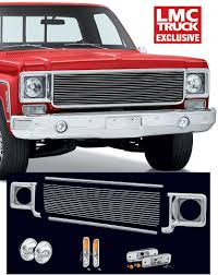 100 Lmc Truck Chevrolet Billet Front End Dress Up Kit With 7 Single Round Headlights 1973