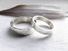 Unique Silver Wedding Band Set Hammered Matching Rings for Him Her