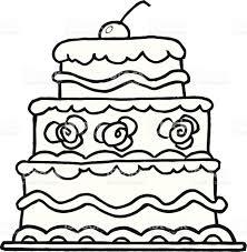 Black and White Elegant Three Tiered Wedding Cake royalty free black and white elegant three