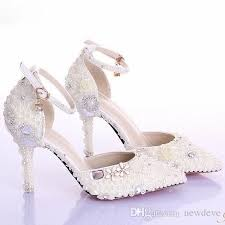 Crystal Beaded Bridal Shoes Pearl Pure Color Pointed Toe Bridal