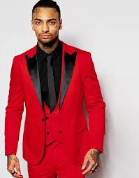 Red Mens Suits Black Peaked Lapel Three Pieces Groom Tuxedos Custom Made Slim Fit Groomsmen Wedding Jacket Pants Vest Formal Suit For Gold