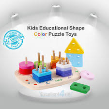 Educational Toys For 2 3 4 5 Age Boys Girls Color Shape Wooden PiecesStandard