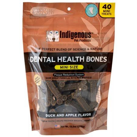 Indigenous Dental Health Mini Bones - Duck & Apple Flavor - 40 Count