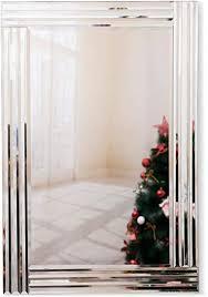 richtop wandspiegel groß rechteck rahmenlos venetian schminkspiegel schwarz holz backing abgeschrägte kante wandmontage für wohnzimmer flur