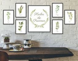 Unframed Watercolor Herb Wall Art Kitchen Set Gallery French Prints Dining Room Herbs