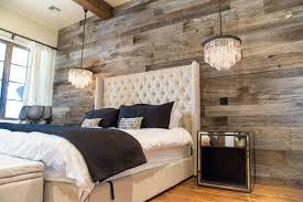 Exterior Design Traditional Bedroom Design With Tufted Bed And by Tobacco Barn Grey Wood Wall Covering U2013 Master Bedroom Wood Walls
