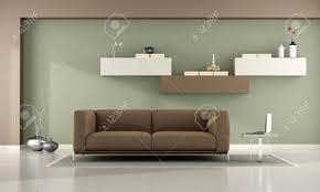 grün und braun wohnzimmer mit schrankwand und leder sofa 3d rendering