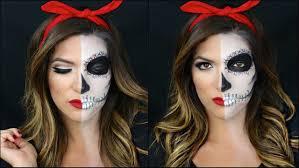 Halloween Half Mask Makeup by Half Skull Half Pin Up Halloween Makeup Tutorial Youtube