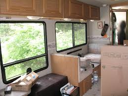 Amazing Rv Remodeling Ideas With Glass Window And Bench Also Storage Cabinet Plus Frosted