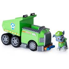 Paw Patrol Rockys Recycle Dump Truck Vehicle With Rocky Figure