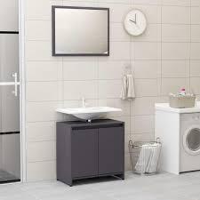 badmöbel set badezimmerset 1 x schrank und 1 x spiegel hochglanz grau spanplatte