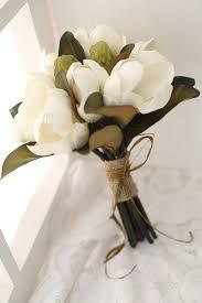 Pink white Magnolia Wedding bridal throw bouquet Yulan Vintage silk