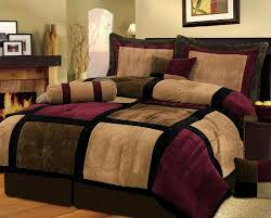 5 PC MODERN Black Burgundy Red Brown Suede FORTER SET BED IN A
