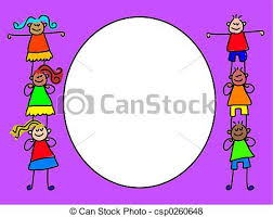 Kids Border Little Tots Cute Design Stock Illustration