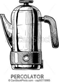 Percolator Vector Hand Drawn Illustration Of Coffee Machine In Vintage Engraved Style Isolated On White