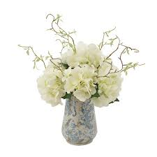 Hydrangea Floral Arrangements With Vines In Rustic Vase