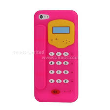 3D Telephone Pattern Soft Silicone Case for iPhone 5 Rose
