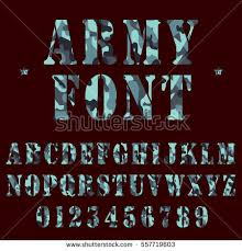 Military Alphabet Font Army Stencil Lettering Stock Vector