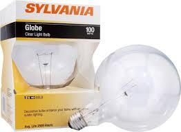 sylvania 100 watt decorative g40 globe light bulb clear