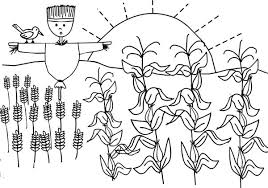 Corn Plant And Scarecrow Coloring Page