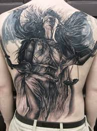 Full Back Grey And Black Ink Angel Tattoos