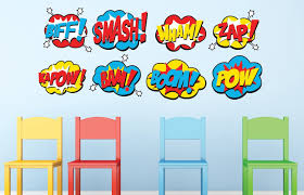 Superhero Wall Decor Stickers by Sunny Decals Wall Decor Sunny Decals Superhero Word Bursts Fabric