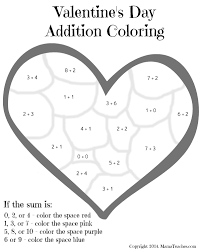 Valentines Day Heart Addition Coloring Sheet Printable