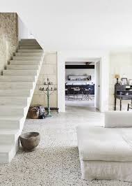 White Terrazzo Floors Are A Durable And Cool Solution That Fits This Rustic Provence Space