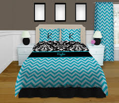 Blue Chevron Bedding Damask Bedding Personalized Duvet