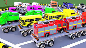 100 Toy Car Carrier Truck Rier Transporting Street Vehicles To Learn Colors For Children Vehicles Parking