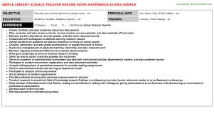 Library Science Teacher Resume Template