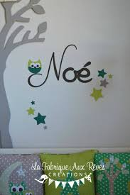 stickers chambre bébé garcon stickers prénom garçon hibou étoiles chocolat anis vert décoration