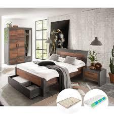 lomadox jugendzimmer set berlin s 61 sparset 6 tlg schlafzimmer komplett set in matera anthrazit grau mit mix dekor inkl lattenrost