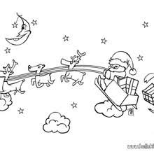 Red Nosed Reindeer Christmas Sleigh Coloring Page