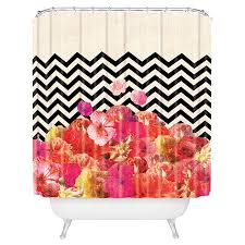 Chevron Print Shower Curtains by Chevron Print Shower Curtain With A Floral Motif By Artist Bianca