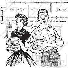 61449 Retro Clipart Of A Vintage Teenage Couple With Books And School Blueprints In Black
