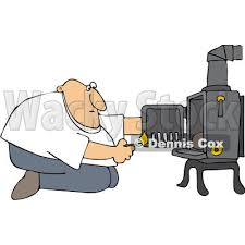 Clipart Man Kneeling In Front Of His Heat Stove To Light A Fire