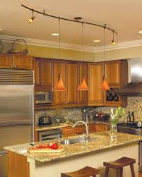 led pendant track lighting kitchen with wooden cabinets and